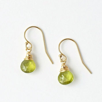 Peridot Earrings / Peridot Dangles / Gold Peridot Earrings / Small Green Gemstone / August Birthstone Jewelry / Push Present / Dainty