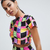 Jade Clark x Tara Khorzad turtle neck crop t-shirt in abstract print at asos.com