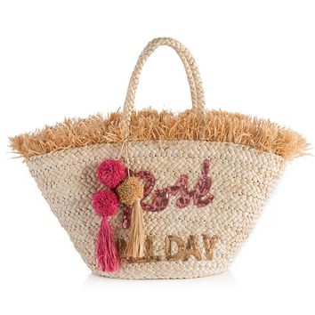 Rosé All Day Straw Tote