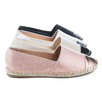 Saturday52 Gold Fabric By Bamboo, Cap Toe Slip On Jute Rope Espadrille Flats