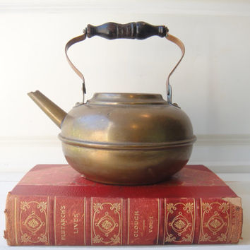 Antique Copper Kettle Tea Shabby Chic Farmhouse Cottage Coffee, Hot Chocolate Rustic French Country Kitchen Photo Prop Wedding