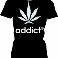 420 womens fit black t-shirt, addict® and weed leaf ;) marihujana themed black and white