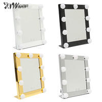 White Vanity Lighted Hollywood Makeup Mirror With Dimmer Stage Beauty 4colors Dimmable Night Light Touch Screen