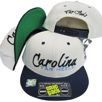 North Carolina UNC Tar Heels Script White/Navy Two Tone Plastic Snapback Adjustable Plastic Snap Back Hat / Cap