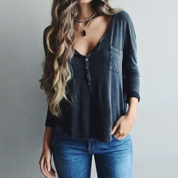 V-neck Sexy solid color long-sleeved Shirt Blouse Tops