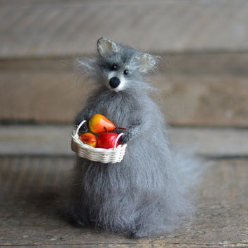 Racoon knitted handmade racoon soft sculpture racoon cute animal stuffed racoon grey gift for her woodland style rustic