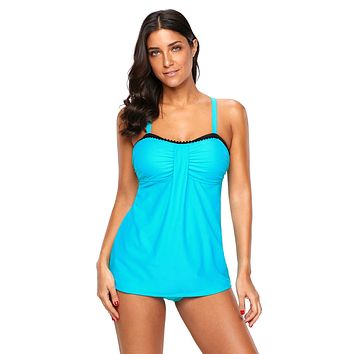 Light Blue Bandeau Tankini 2pcs Swimsuit