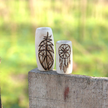 Dread beads: 2 wooden beads, dreamcatcher, feather // handmade hippie natural hair accessory // eco-friendly, handmade and one of a kind