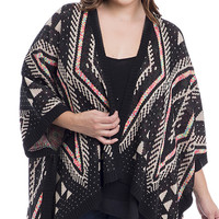 Plus Size Geo Patterned Dolman Cardigan