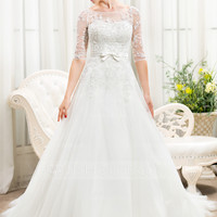 [£ 189.00] A-Line/Princess Off-the-Shoulder Chapel Train Tulle Lace Wedding Dress With Beading Sequins Bow(s) (002056466)