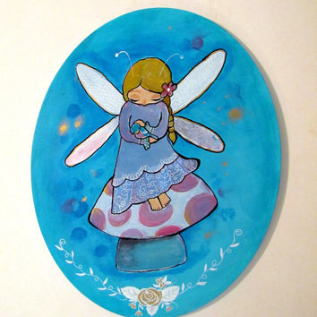 Fairy Portrait, Fairy Tale Painting, Whimsical Storybook Art, Cute Fairy, Little Girls Room Nursery Decor, Childrens Room Wall Art