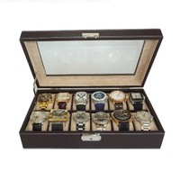 12 Piece Chocolate Brown Leatherette Men's Watch Display Organizer Storage Case for Watches