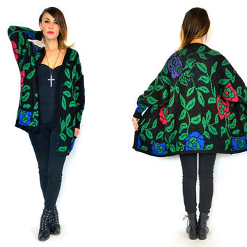 vintage 1980s slouchy knitted FLOWER + LEAF oversized boyfriend open fit CARDIGAN sweater, extra small-large