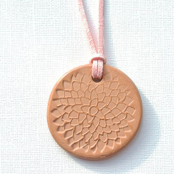 "Mum Floral Terracotta Diffuser Necklace, Essential Oils - Faux Suede Cord - Large unglazed Terra Cotta Clay Pendant 2""diameter Chrysanthemum"