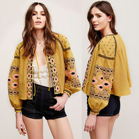 Boho Graphic Lace up Front Loose Fit Coat