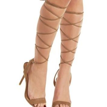 Taupe Single Strap Tall Lace-Up Heels by Charlotte Russe