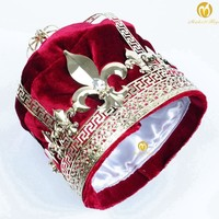"""Red Velvet King Emperor Tiara Diadem Large 9"""" Crowns Austrian Rhinestone Hair Accessories Parade Pageant Party Costumes"""