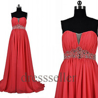 Custom Red Beaded Long Prom Dresses Fashion Eveing Dresses Bridesmaid Dresses Wedding Party Dress Fashion Party Dress Evening Gowns