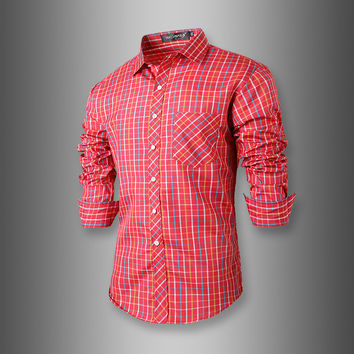 Stylish Plaid Men Slim Long Sleeve Shirt [6541443907]