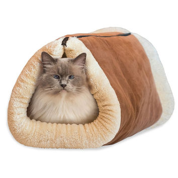 2-in-1 Pet Bed Snooze Tunnel and Mat for Pet Winter Warm Cat Dog Blanket Portable Cat Dog House for Travel or Home WA990 T72