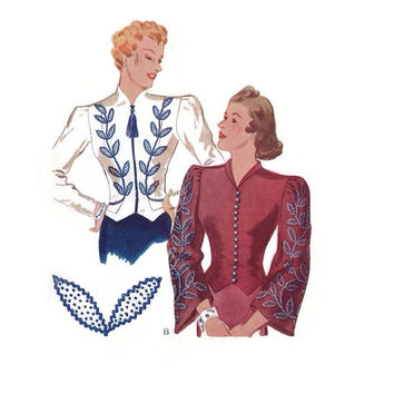 1938 Sewing Pattern-McCall's-Ladies Jacket Blouse-Fitted with Two Sleeve Options-Bust 33-Waist 27-Costume-Movie Wardrobe-Vintage Hollywood
