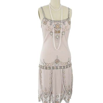 1920s Flapper Style Beaded Champagne Dress-20s Inspired Dresses