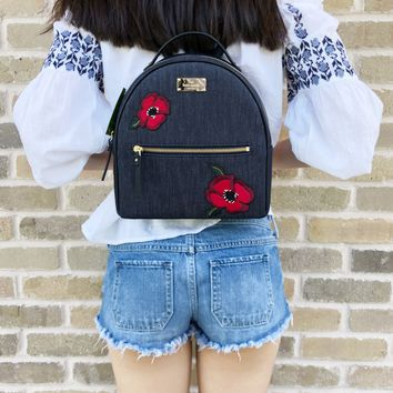 Kate Spade Grove Street Poppy Sammi Small Backpack Denim Blue Red Floral