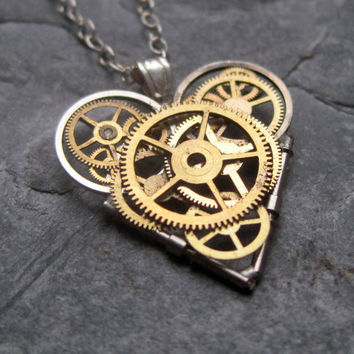 "Watch Parts Heart Necklace ""Free"" Clockwork Steampunk Industrial Heart Pendant Sculpture Gershenson-Gates Mechanical Mind Gift Idea"
