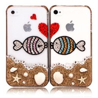 Rhinestone Lovers Kissing Fishes Case For iPhone 5