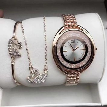 Swarovski Women Fashion Diamonds Delicate Wristwatch Watch Necklace Bracelet Three Piece Suit-2