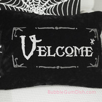 Velcome Funny Halloween Pillow Cover Vampire Welcome Greeting Embroidered Black Velvet