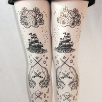 Pirate Printed Tattoo Tights Narwhal Octopus Nautical Medium Tall Black on White Women