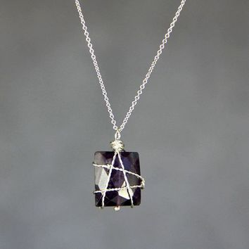 Square Amethyst Silver wire wrapped pendant necklace Bridesmaids gifts Free US Shipping handmade Anni Designs