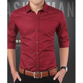 Polka Dot Design Long Sleeve Slim Fit Cotton Shirt