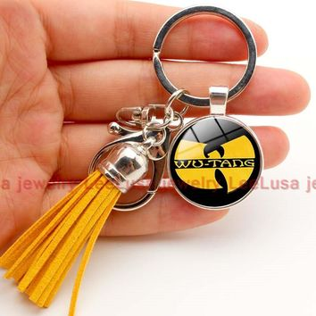 Tassel key chain rock band wu tang charm glass dome keychain key ring for fans