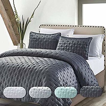 California Design Den Quilt/Coverlet Set Best Quality Solid Luxury Hotel Style Bedspreads All Season Lightweight Bedding King Size Charcoal 3 Piece