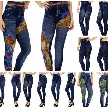 Print Denim Leggings in One Size Fits S-XL in 7 Styles