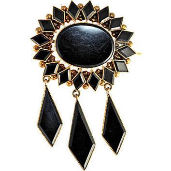 English 14K Gold Whitby Jet Brooch