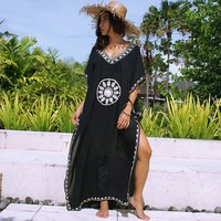 Embroidery Cotton Beach Saida De Praia Swimsuit Women Bikini Cover Up Black Tunics For Beach Pareo Sarong Beachwear