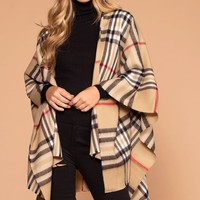 Highland Taupe Plaid Poncho