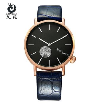 2017 Top Women's watch Fashion ABBYGALE Brand luxury Ladies Alloy Quartz watch Women Watches Leather Strap Lover's Watch gifts