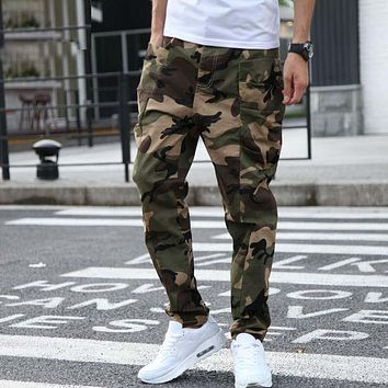 Summer Autumn Men Casual Harem Pants With Big Side Pocket Military Camouflage Combat Pants Army Green Joggers Loose Baggy Pants