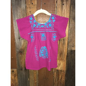 Mexican Dress for Girls Magenta