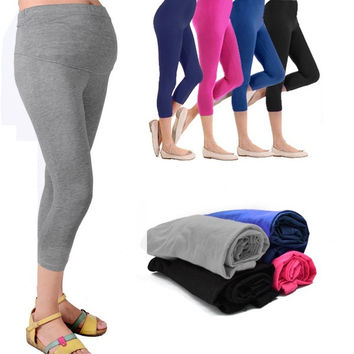 New Cropped Very Comfortable Maternity Cotton Leggings 3/4 Length Pregnancy  D_L = 1712968900