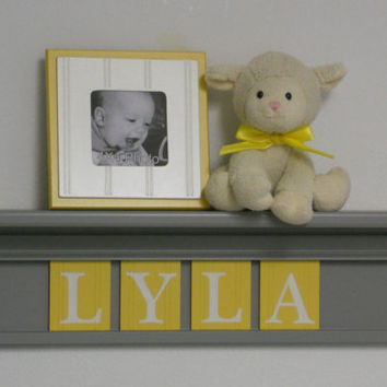 "Yellow and Gray Baby Girl Nursery Wall Art, Custom Name Nursery Decor Gift - LYLA - Personalized 24"" Grey Shelf 4 Wooden Wall Letter Plaques"