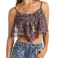 Floral Print Lace Swing Crop Top by Charlotte Russe - Purple Combo