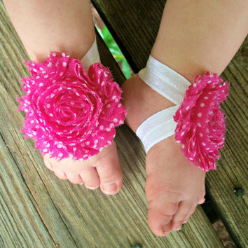 Baby Barefoot Sandals..Polka Dots..Newborn Barefoot Sandals..Toddler Barefoot Sandals