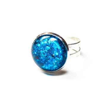 Blue Ocean Mermaid Scale Ring