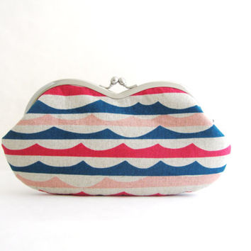Sunglasses case Eyeglasses Case Clutch Purse - Waves Canvas
