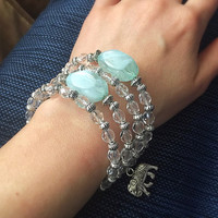 Clear Beaded Memory Wire Bracelet - Aqua Blue Jewelry - Elephant Charm - Good Luck Jewelry - Stainless Steel Jewelry
